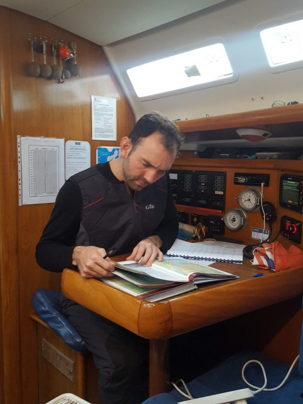 Skipper reading charts before sailing