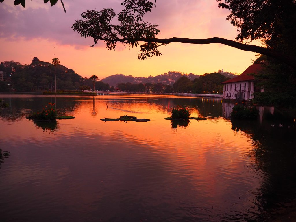 Kandy in Sri Lanka at sunset, a must visit on your two weeks in sri lanka