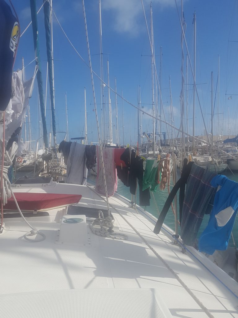 washing day on the sailboat