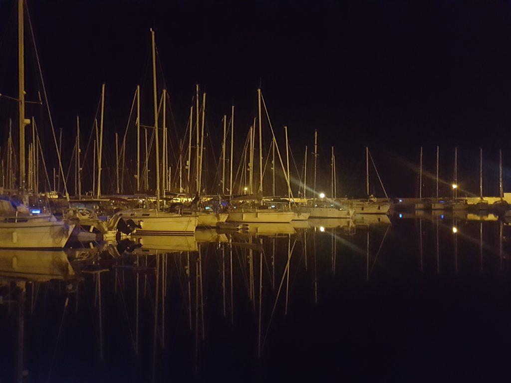 The marina in marina di ragusa overnight