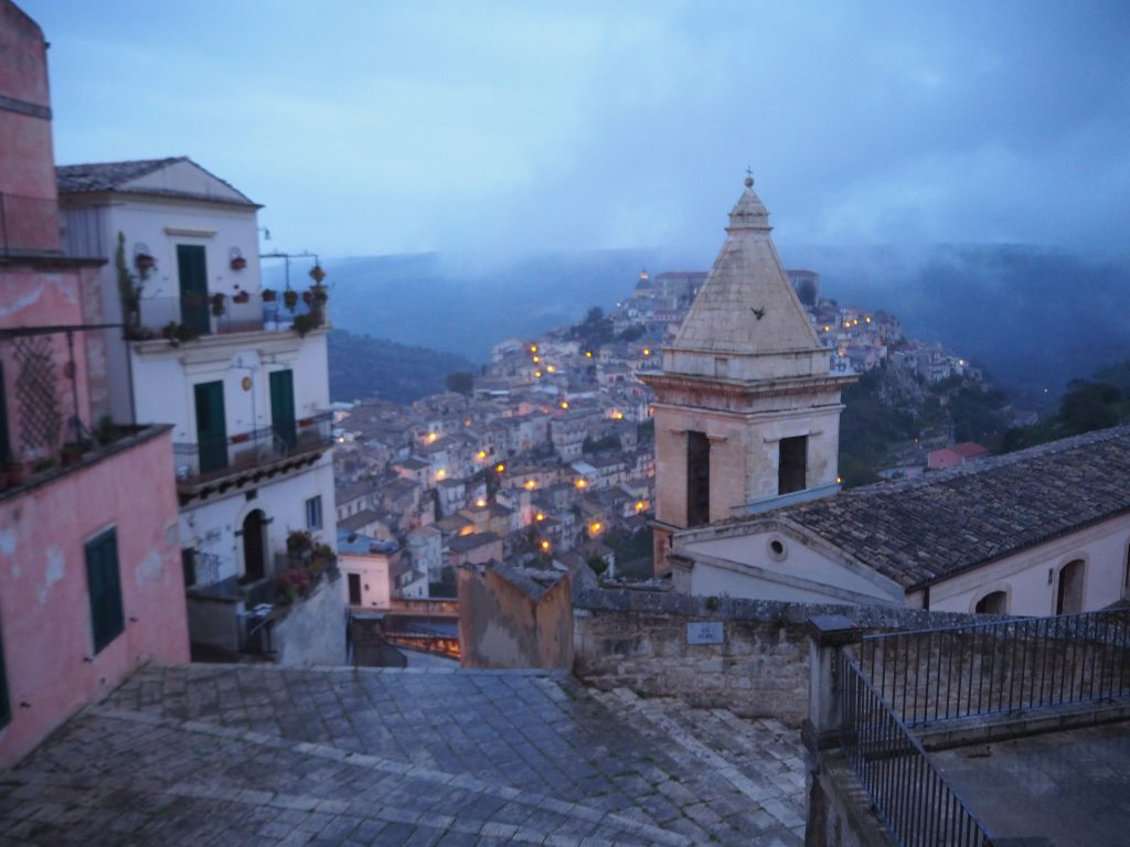 Ragusa Ibla at night, with the mist settling around the old buildings