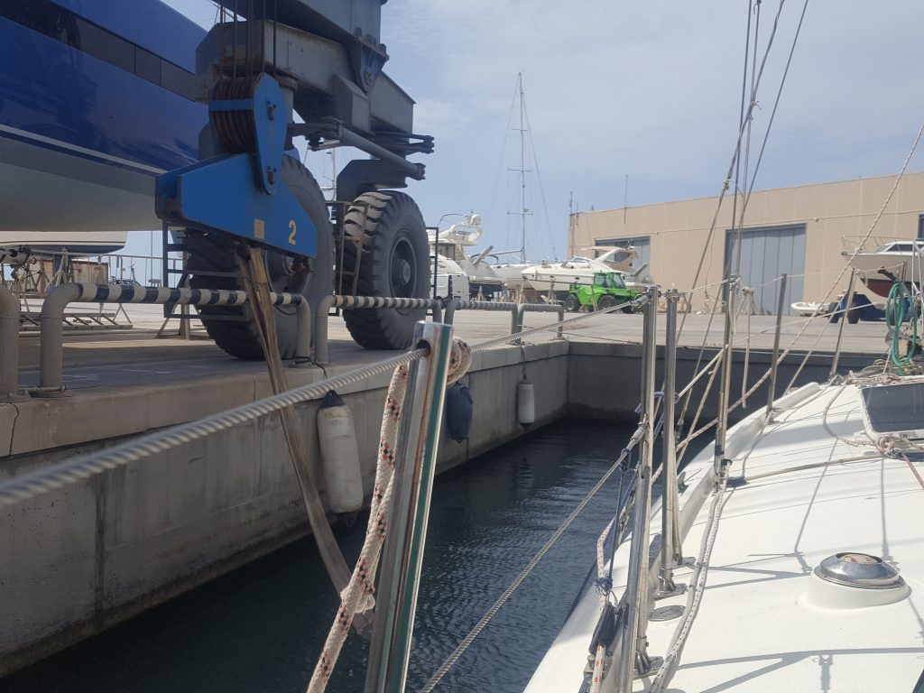 THE HOLDING BAY OF A HAUL OUT LIFT FOR A BOAT YARD