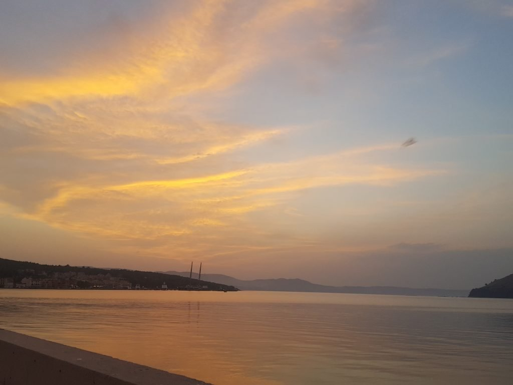 sunset in argostoli bay