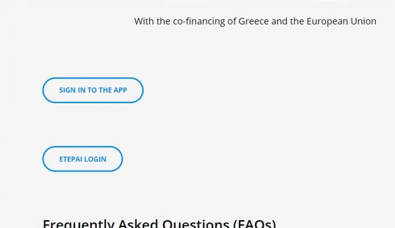 screen shot of the greek TEPAI online process