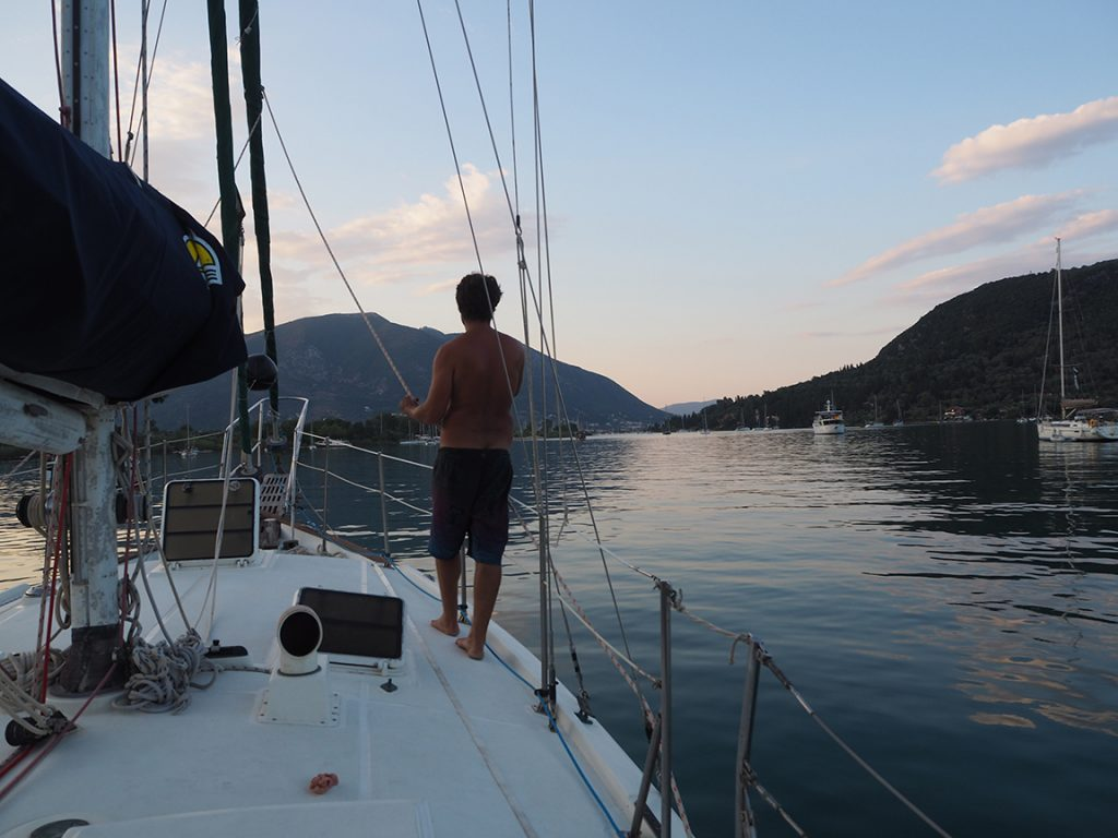 A mountain view from a sailboat after a year out of work