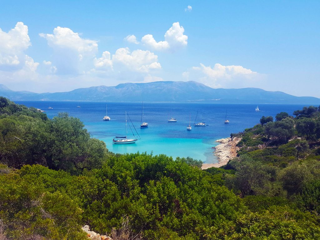 A pretty bay on Kastos in Greece with sailboats everywhere