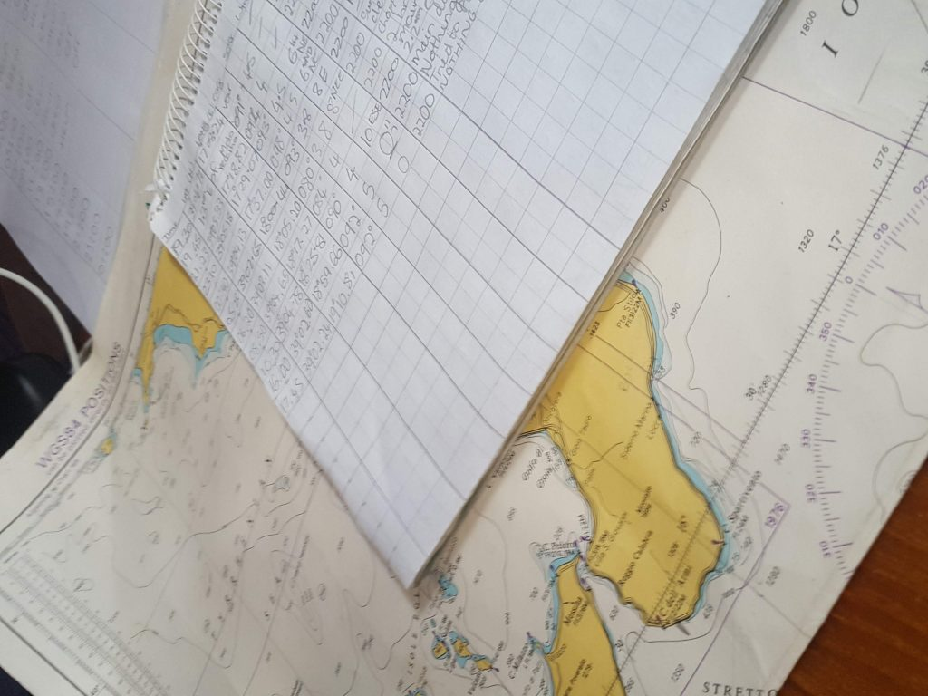 Sailing charts and a log book for sailing the world
