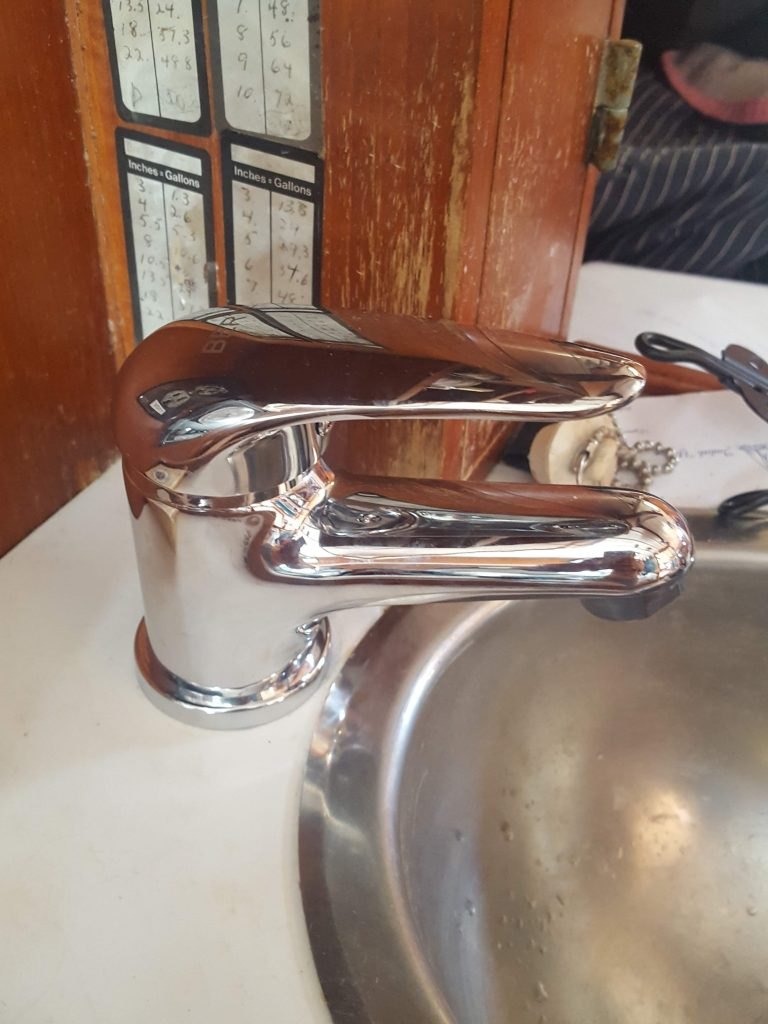 A close up of a tap I fixed on our sailboat