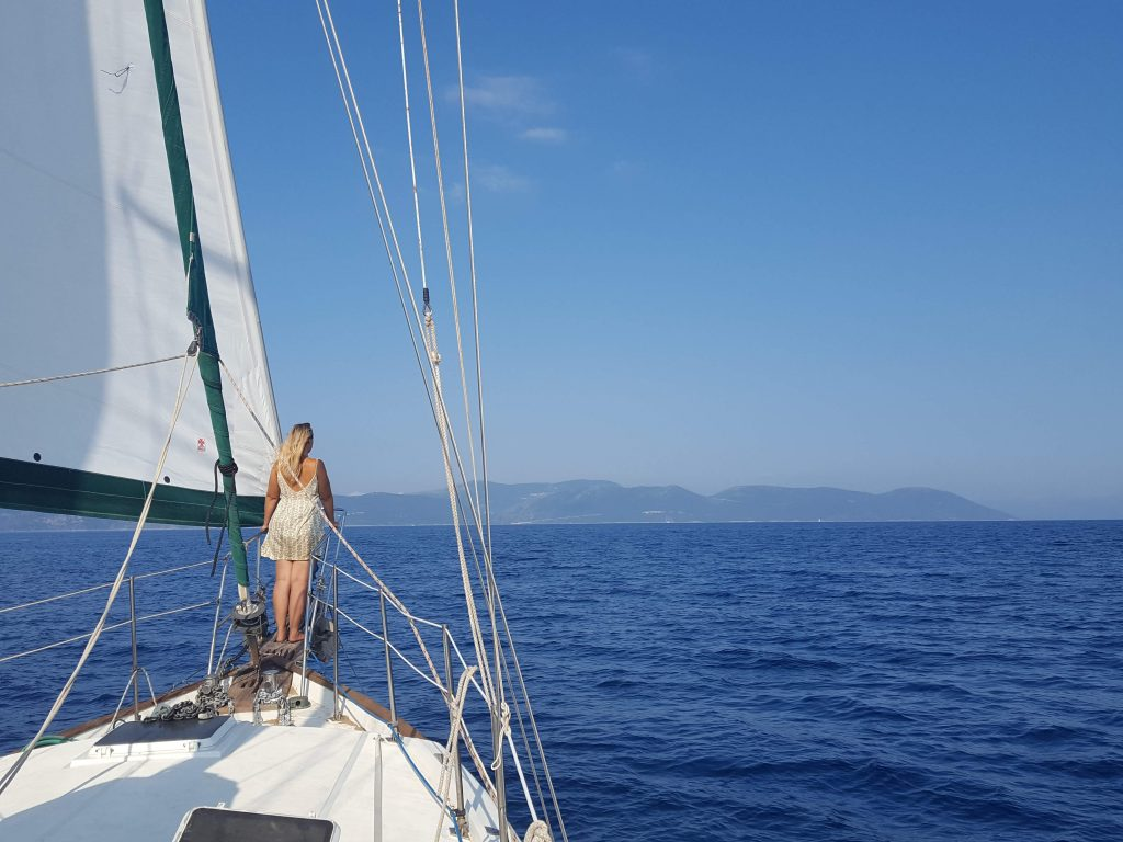 a girl wearing a dress for sailing from her downsized wardrobe