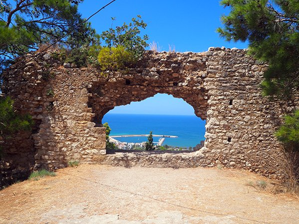 views from a castle ruin in the peloponnese