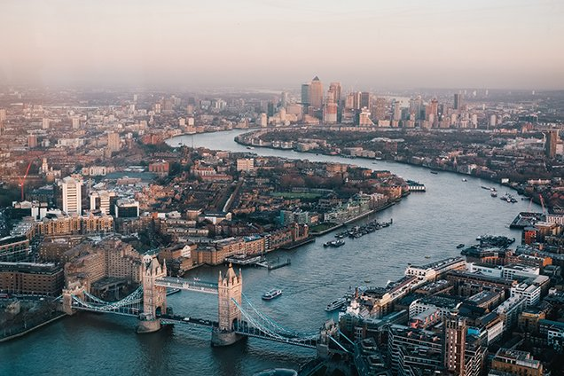 a view over london during a winter in england