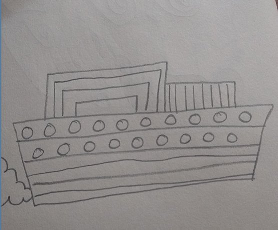 A drawing of a cruise boat before the meltemi
