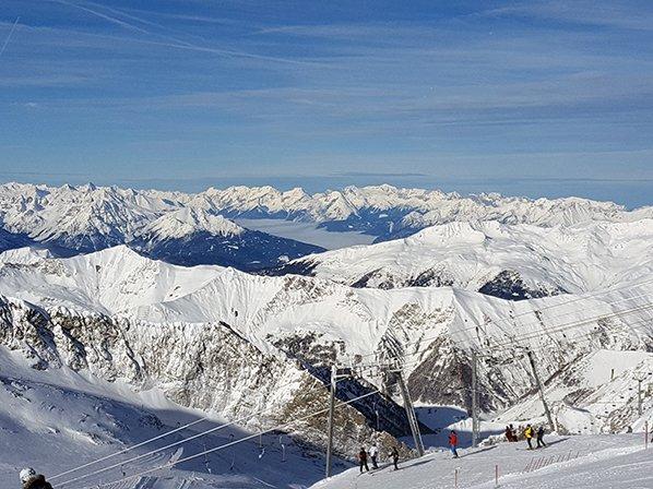 Mayrhofen ski slopes in the winter