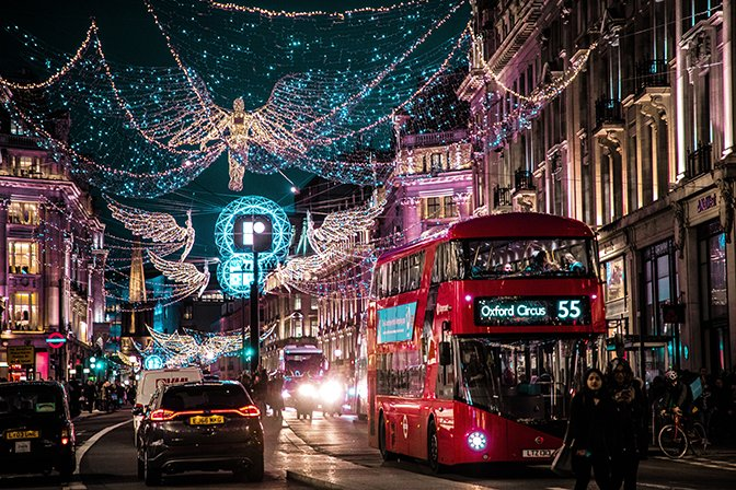 LONDON ALL LIT UP WITH STREET LIGHTS AT CHRISTMAS
