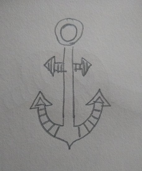 Drawing of a teeny, tiny anchor