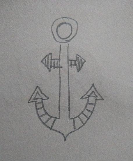 Drawing of a teeny, tiny anchor