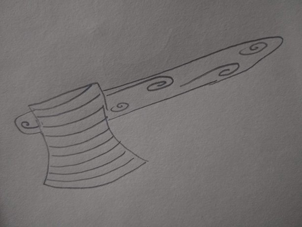 Drawing of an axe in the meltemi