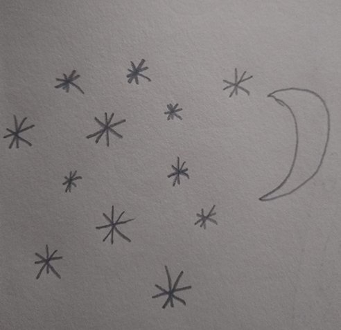 Drawing of the night sky during the meltemi winds