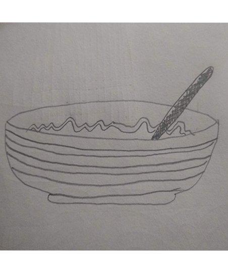 Drawing of lumpy, cold porridge