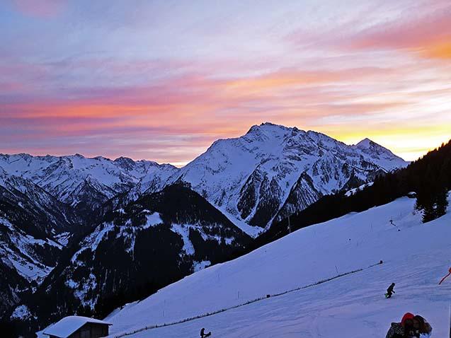 Ski resort mountains at sunset