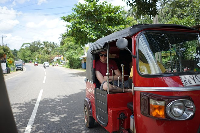 A RED TUK TUK IN SRI LANKA