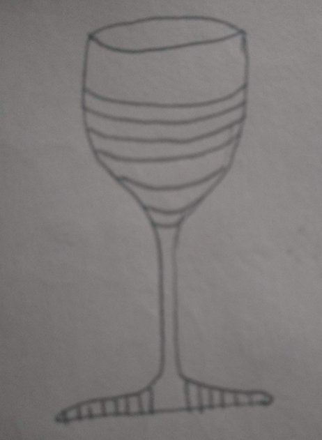 Drawing of a glass of wine being drunk during the meltemi