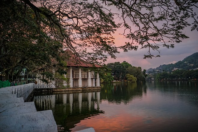 Kandy lake in sri lanka at sunset