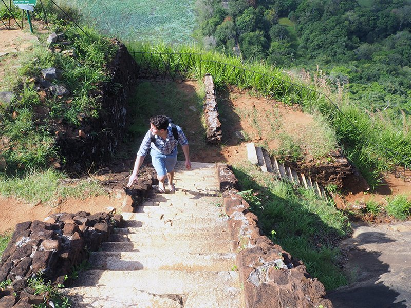 THE STAIRS AT SIGIRIYA ROCK GOING ON FOREVER