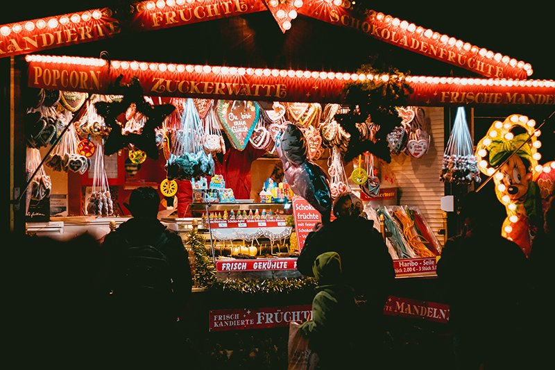 German food for sale at the southampton christmas market in hampshire