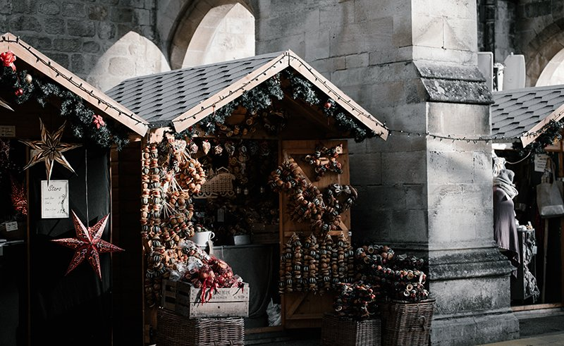 A stall at winchester christmas market in hampshire