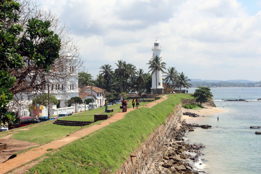 a view of the white lighthouse in galle sri lanka