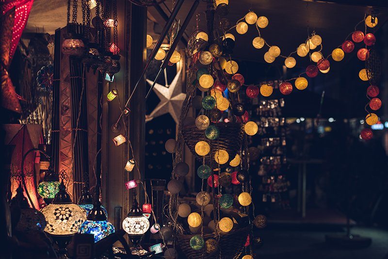 Lights at portsmouth docklands Christmas market in hampshire