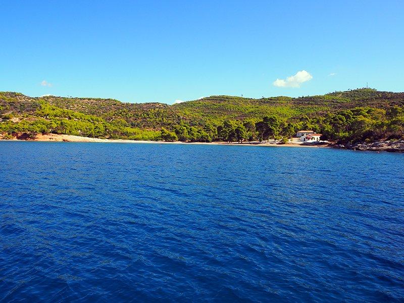 BREAKFAST ANCHORAGE ON SPETSES ISLAND IN GREECE
