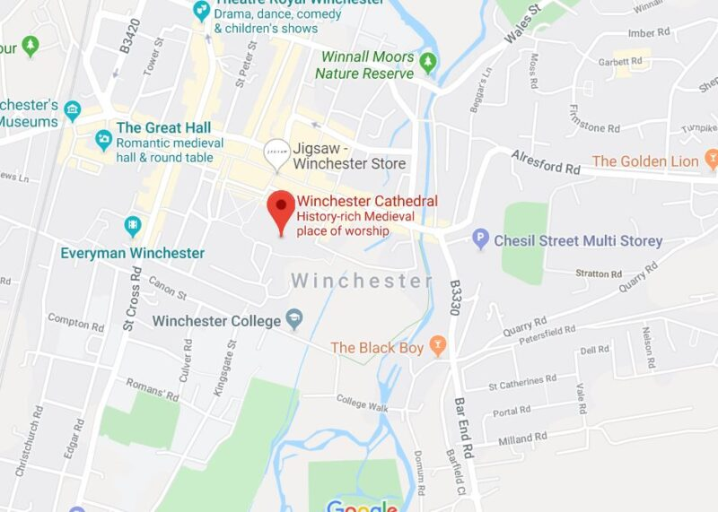 A map to winchester christmas market