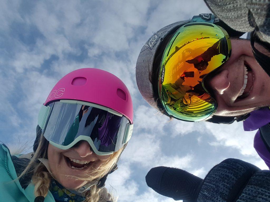 two skiiers looking happy!