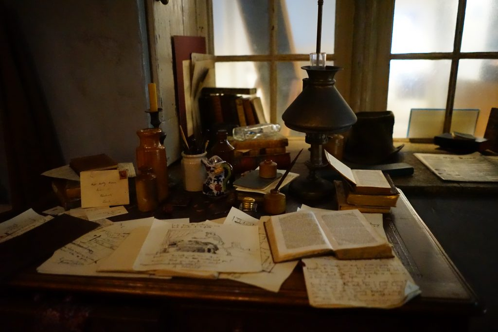 The writing desk of one of the brontes in the parsonage museum in Haworth
