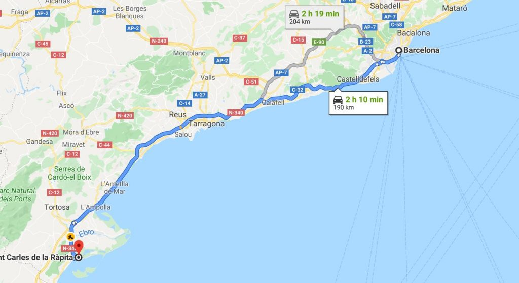 a map that shows how sant carles de la rapita is 2 hours from barcelona