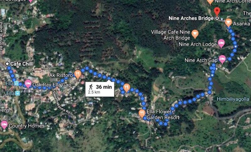 A map to nine arch bridge in sri lanka