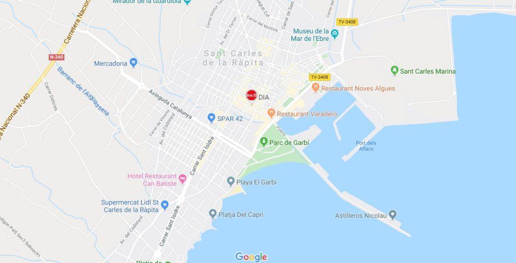 a map showing where sant carles de la rapita is