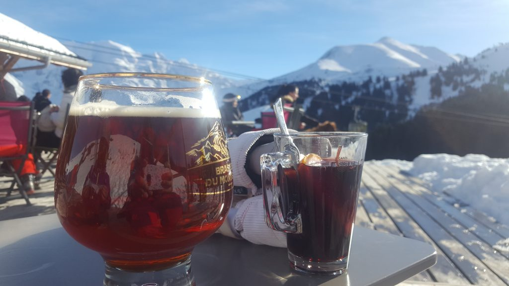 DRINKS UP THE MOUNTAIN IN A SKI RESORT