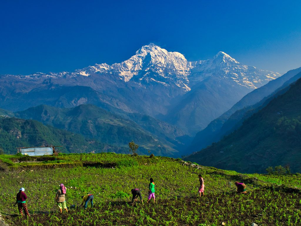 MOUNTAIN VIEWS ON THE ANNAPURNA TREK IN THE NEPALESE MOUNTAINS. A FAMOUS BACKPACKER ROUTE