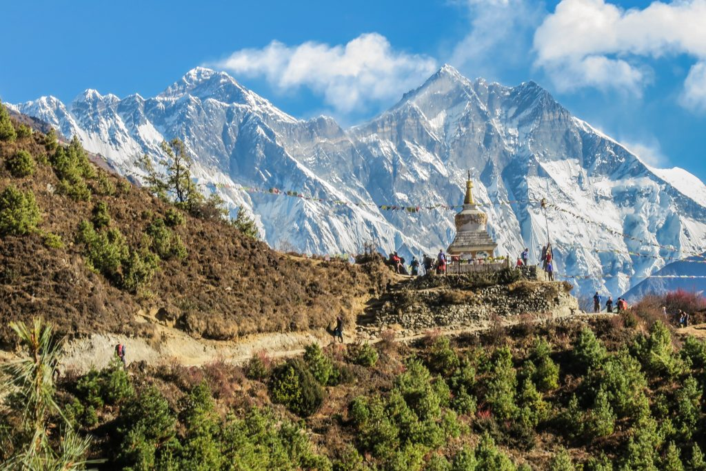 BACKPACKERS TREKKING IN THE MOUNTAINS OF NEPAL