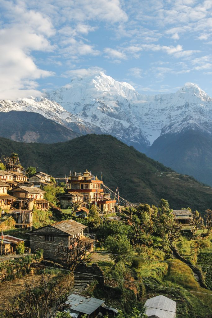 THE HIMALAYAS IN NEPAL BEING VISITED BY BACKPACKERS