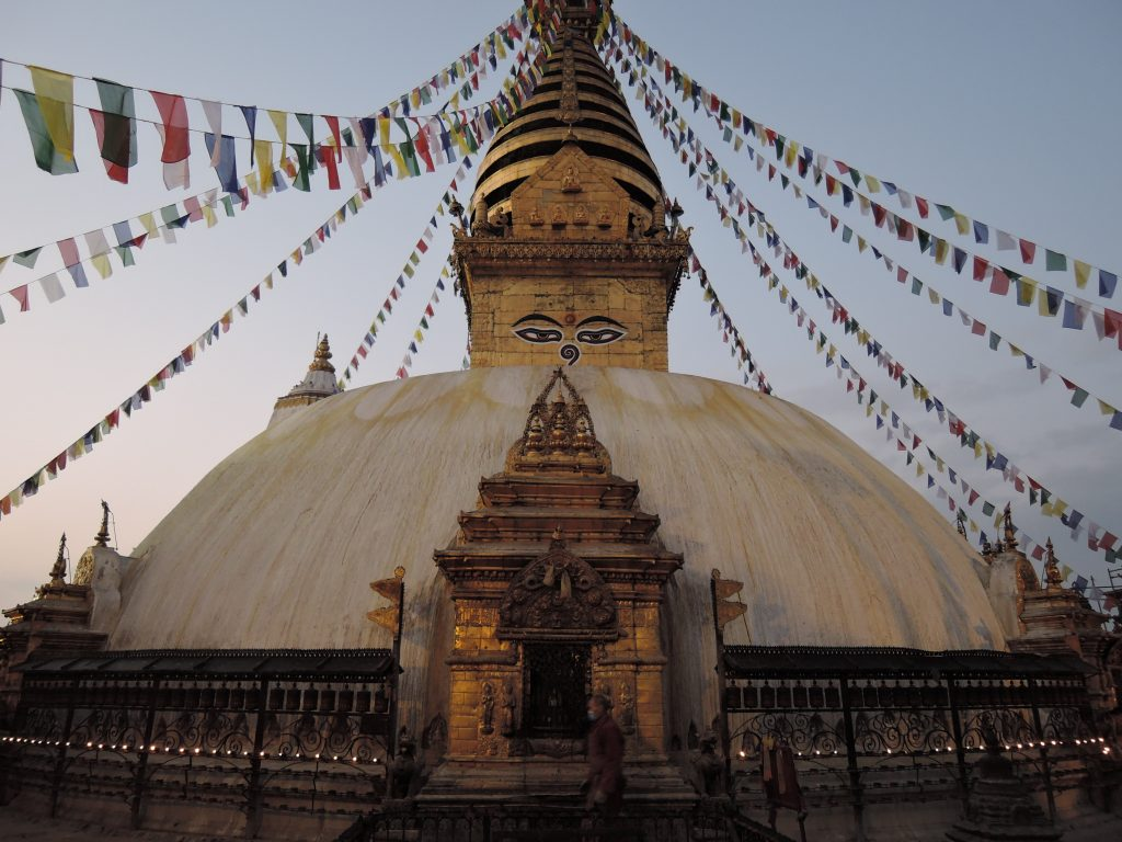 A TIBETAN BUDDHIST TEMPLE IN KATHMANDU, SEEN WHEN BACKPACKING NEPAL