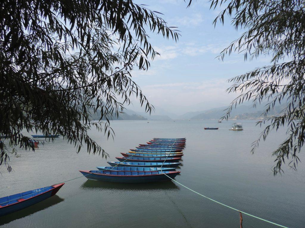 BOATS LINED UP ON POKHARA LAKE