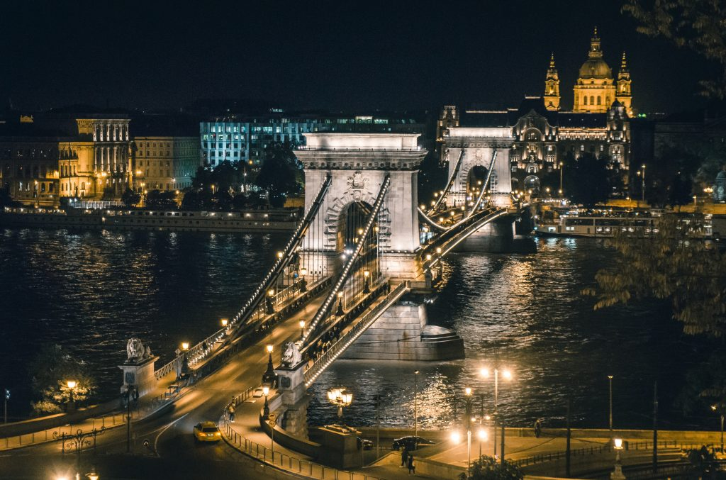 CHAIN BRIDGE IN BUDAPEST ALL LIT UP AT NIGHT AND LOOKING VERY ROMANTIC