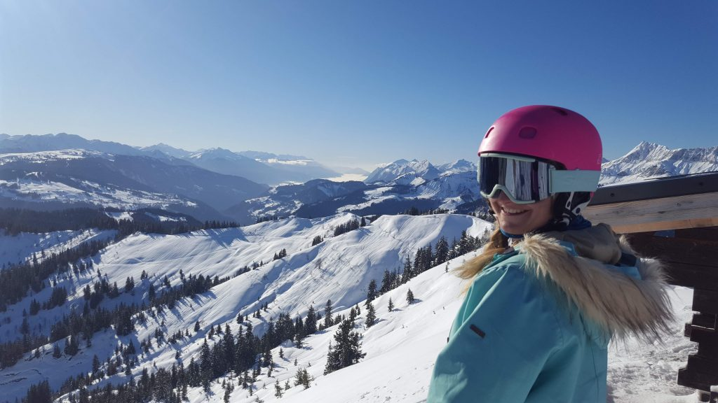 learning to ski in Combloux in France