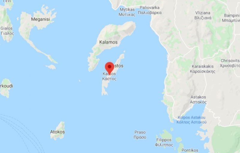 A map showing where Kastos island is in Greece