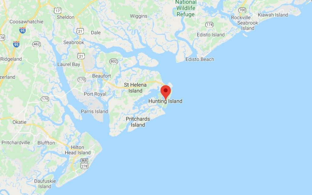 A map of how to get to hunting island state park