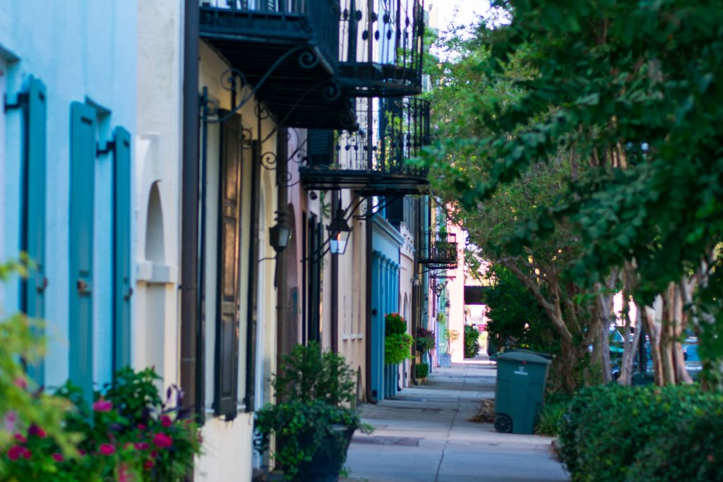 the colourful houses of charleston SC